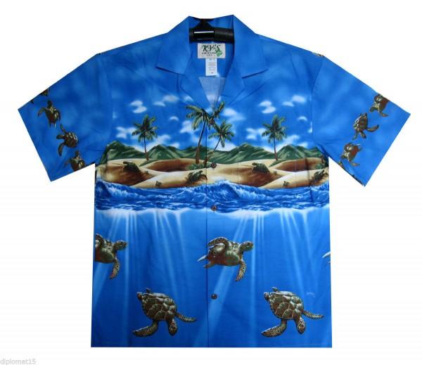 KY's | Original Hawaiihemd | Herren | S - 8XL | Schildkröten Meer Strand | Mehrere Farbvarianten