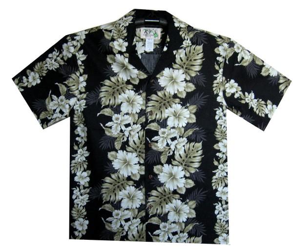 KY's | Original Hawaiihemd | Herren | S - 8XL | Blumen Blätter Girlanden | Schwarz