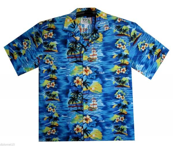 KY's | Original Hawaiihemd | Herren | S - 8XL | Insel Palmen Meer | Mehrere Farbvarianten