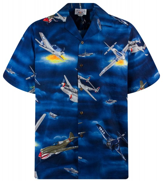 Pacific Legend | Original Hawaiihemd | Herren | S - 4XL | Flugzeug Flieger Boot | Blau