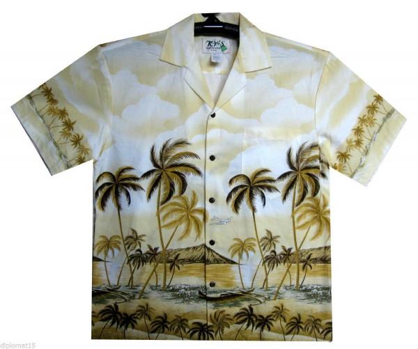 KY's | Original Hawaiihemd | Herren | S - 8XL | Palmen Strand Meer | Mehrere Farbvariationen