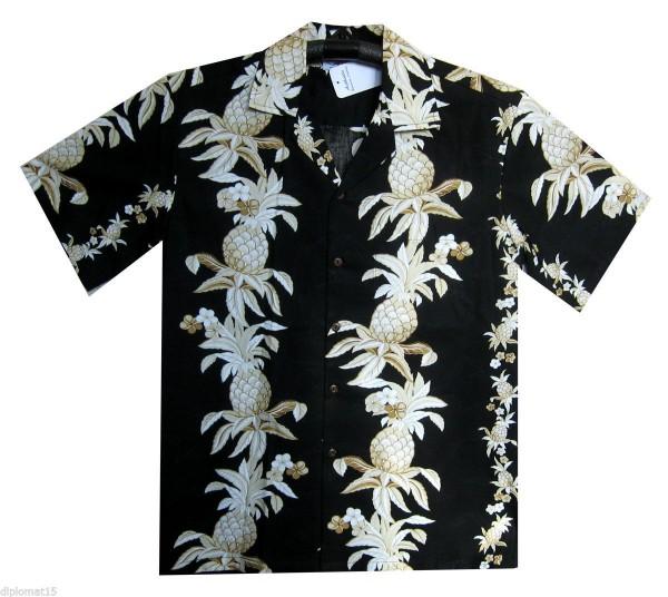 Pacific Legend | Original Hawaiihemd | Herren | S - 4XL | Ananas Galande | Schwarz