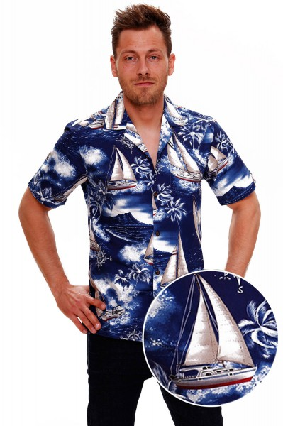 Pacific Legend | Original Hawaiihemd | Herren | S - 4XL | Yacht Palmen | Blau