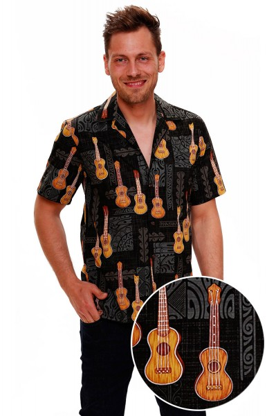 Pacific Legend | Original Hawaiihemd | Herren | S - 4XL | Gitarre Musik Party | Schwarz