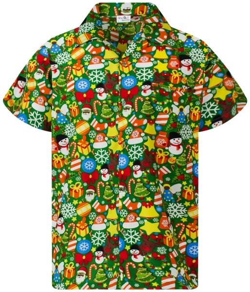 Funky Hawaiihemd Weihnachten Christmas Allover Herren Kurzarm Mehrere Farben