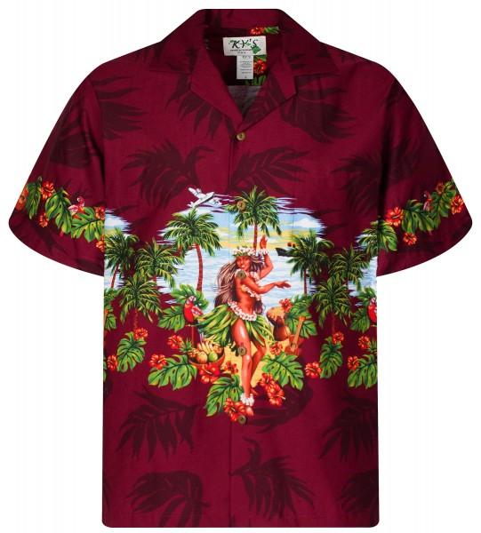 KY's | Original Hawaiihemd | Herren | S - 8XL | Hulamädchen Blumen | Mehrere Farbvarianten