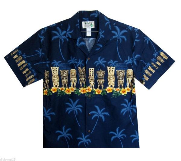 KY's | Original Hawaiihemd | Herren | S - 8XL | Totem Blüten Traditionell | Mehrere Farbvarianten