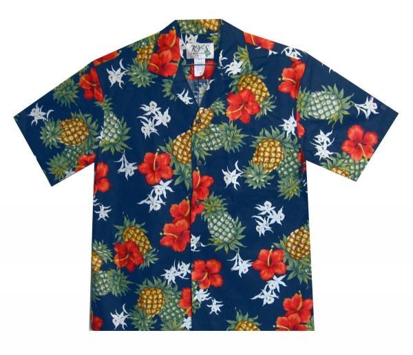 KY's | Original Hawaiihemd | Herren | S - 8XL | Ananas Blumen | Mehrere Farbvarianten