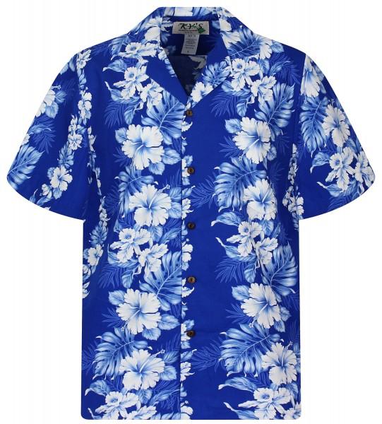 KY's   Original Hawaiihemd   Herren   S - 8XL   Blumen Blätter Girlanden   Schwarz