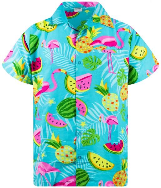 Funky Hawaiihemd Flamingo Melonen Herren Kurzarm Mehrere Farben