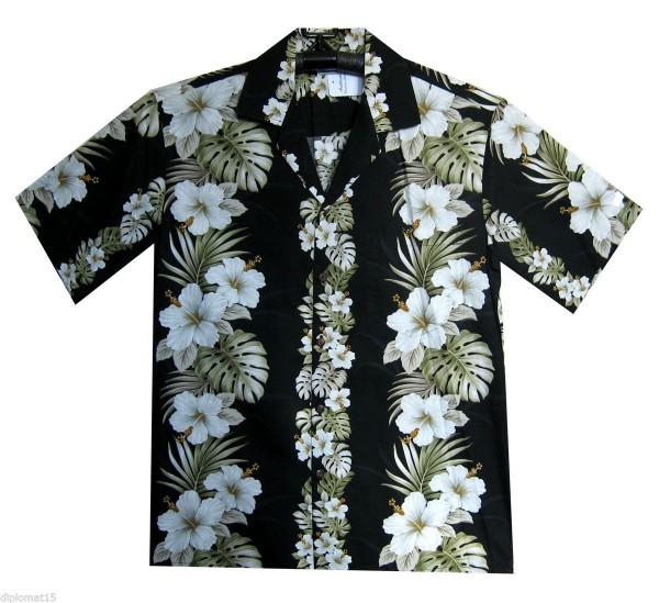 Pacific Legend | Original Hawaiihemd | Herren | S - 4XL | Blumen Palmenblätter Girlande | Schwarz
