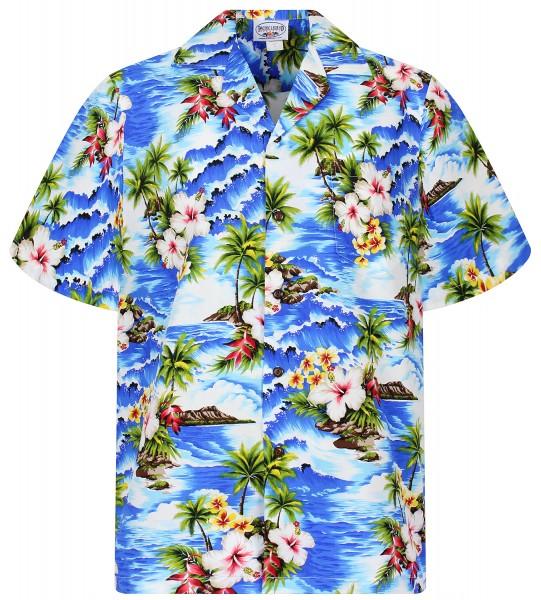 Pacific Legend   Original Hawaiihemd   Herren   S - 4XL   Welle Palmen Blumen   Blau