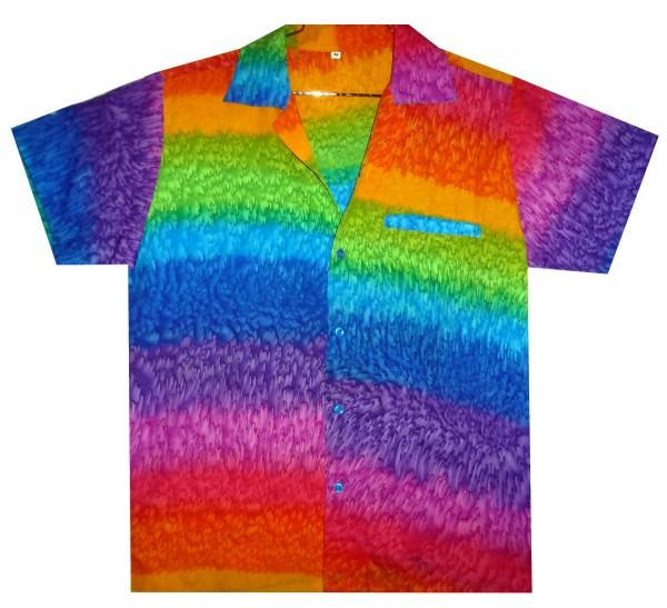 Funky Hawaiihemd | Herren | XS - 12XL | Regenbogen | Horizontale Streifen | Mehrfarbig