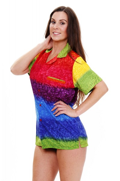 Funky Hawaiibluse | Hawaiihemd | Damen | XS - 6XL | Regenbogen | Vertikale Streifen | Mehrfarbig
