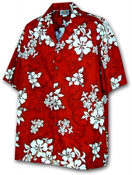 Pacific Legend | Original Hawaiihemd | Herren | S - 4XL | Hibiskus | Rot