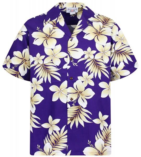 Pacific Legend | Original Hawaiihemd | Herren | S - 4XL | Hibiskus Blumen Gold | Violett