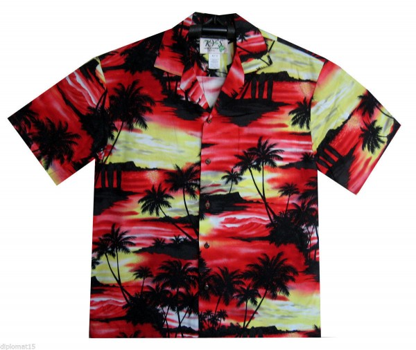 KY's | Original Hawaiihemd | Herren | S - 8XL | Camouflage Surf Palmen | Rot - EINZELSTÜCKE -