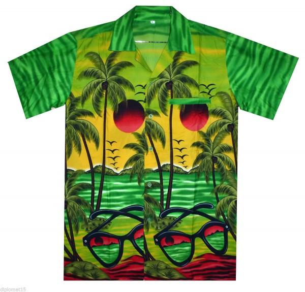 Funky Hawaiihemd   Herren   XS - XXL   Sonnenbrille Palmen Meer   Mehrere Farbvarianten