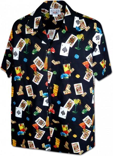 Pacific Legend   Original Hawaiihemd   Herren   S - 4XL   Poker   schwarz