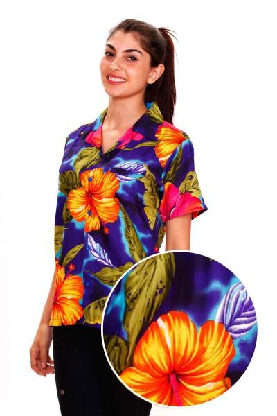 Funky Hawaiibluse | Hawaiihemd | Damen | XS - 6XL | Big Flower | Mehrere Farbvarianten