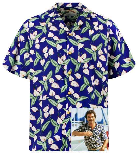 Original Hawaiihemd, Tom Selleck, Green Leaves on blue