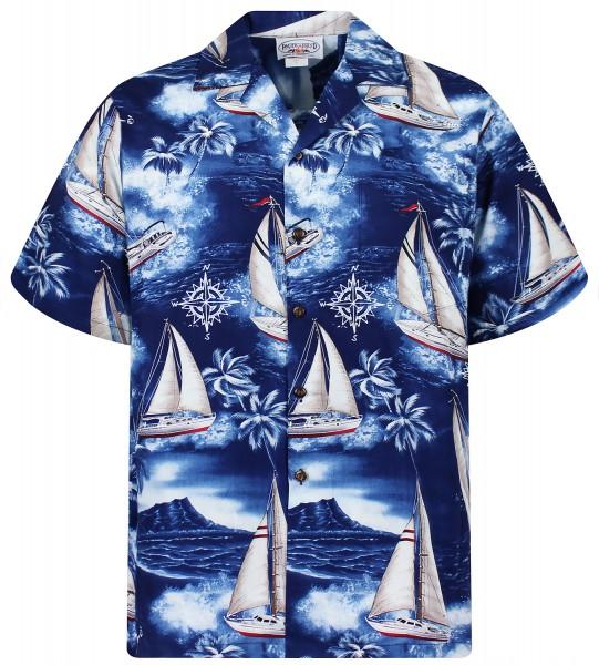Pacific Legend | Original Hawaiihemd | Herren | S - 4XL | Yacht Palmen | Blau