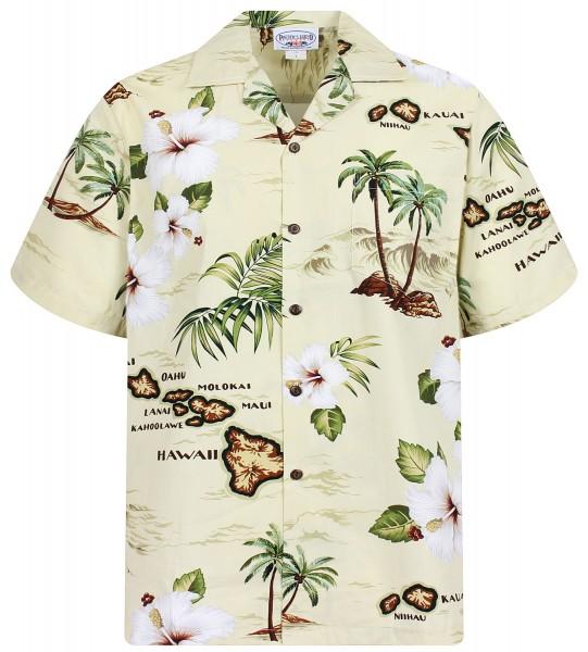 Pacific Legend | Original Hawaiihemd | Herren | S - 4XL | Insel Palmen Meer | Beige