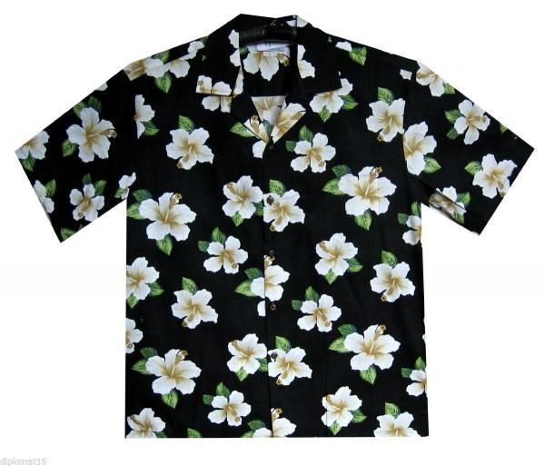 Pacific Legend | Original Hawaiihemd | Herren | S - 4XL | Blumen Klassisch | Schwarz