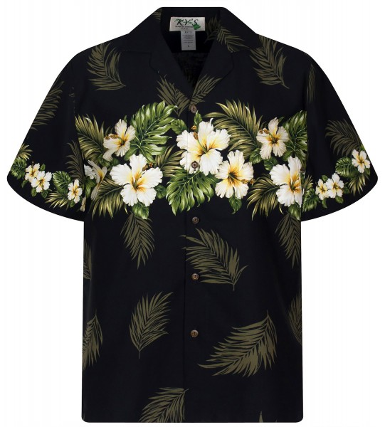 KY's | Original Hawaiihemd | Herren | S - 8XL | Blumen Blüten Blätter | Schwarz