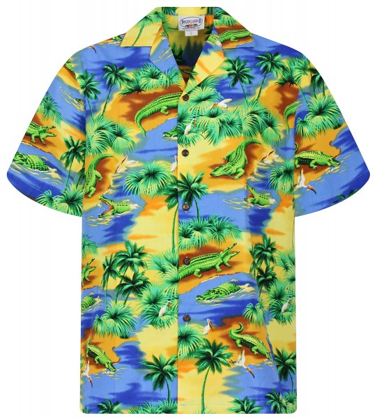 Pacific Legend | Original Hawaiihemd | Herren | S - 4XL | Krokodil Palmen Fluss | Blau
