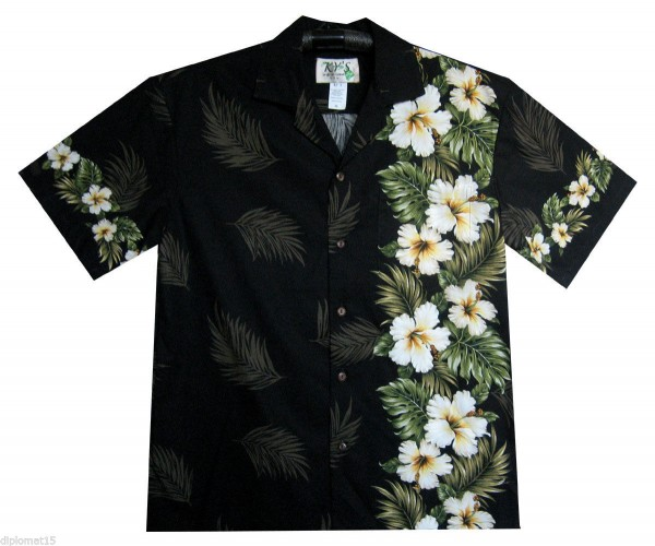KY's | Original Hawaiian Shirt | For Men | S - 4XL | Short-Sleeve | Hawaiian Blumen | Schwarz