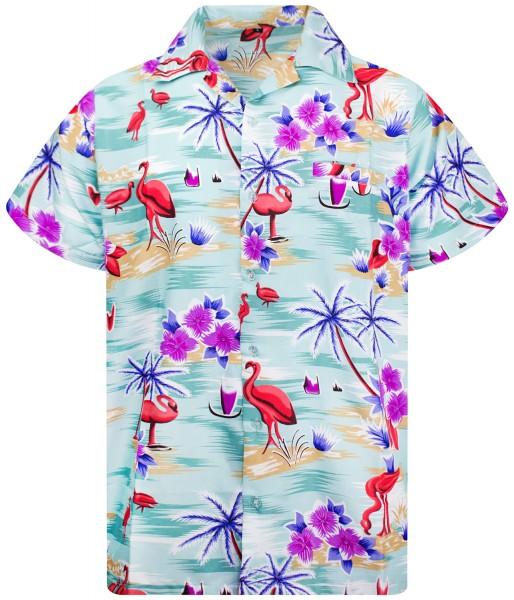 Funky Hawaiihemd Flamingos Herren Kurzarm Mehrere Farben