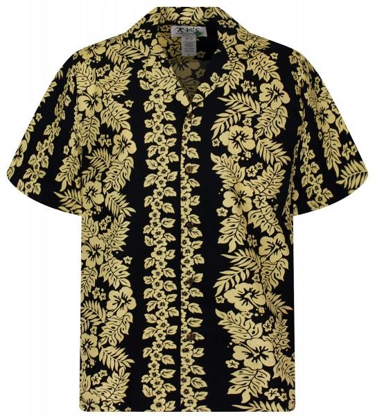 KY's | Original Hawaiihemd | Herren | S - 8XL | Goldgirlande Blumen Blätter | Schwarz
