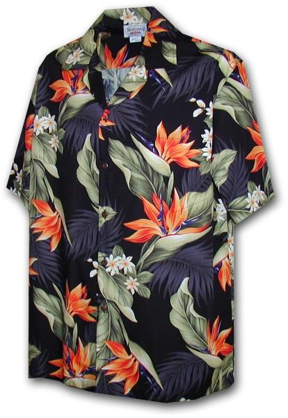 Pacific Legend | Original Hawaiihemd | Herren | S - 4XL | Strelizie Palmen Blumen | Schwarz
