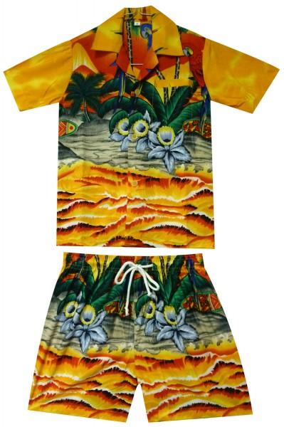Funky Kinder Cabana Set | Hawaiihemd und Hose | Kinder | 2 - 8 Jahre | Papagei | Mehrere Farben