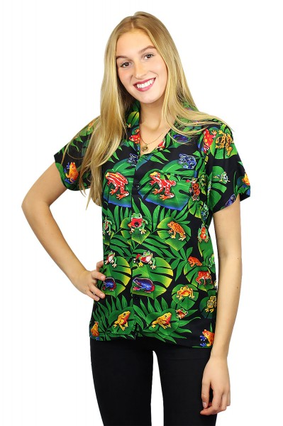 Funky Hawaiibluse | Hawaiihemd | Damen | XS - 6XL | Frösche | Schwarz Mehrfarbig
