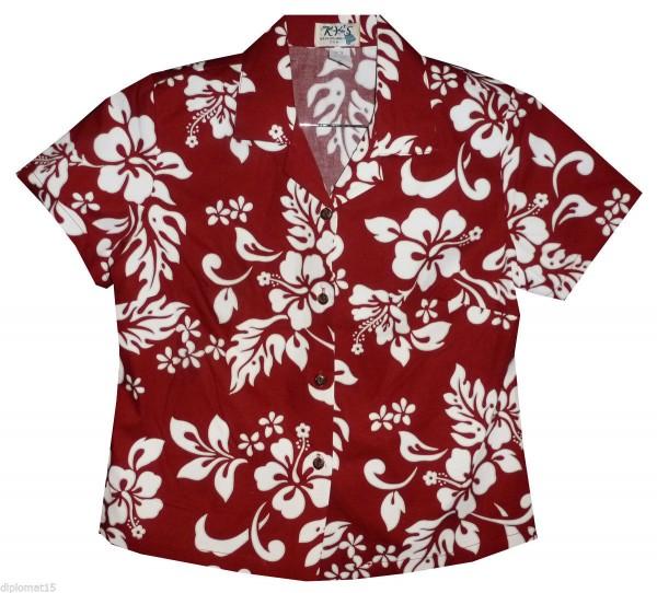 KY's | Original Hawaiibluse für Damen | Hibiskus Hemd for Men | Kurzärmelig | Front-Tasche | Rot