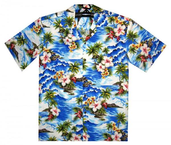 Pacific Legend | Original Hawaiihemd | Herren | S - 4XL | Welle Palmen Blumen | Blau