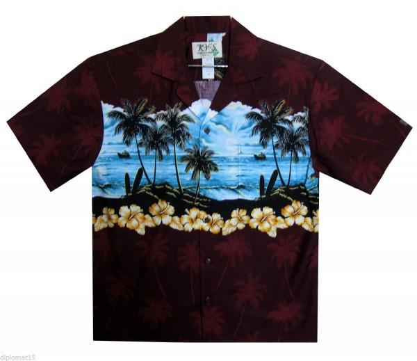 KY's | Original Hawaiihemd | Herren | S - 6XL | Strand Brustdruck | Mehrere Farbvarianten