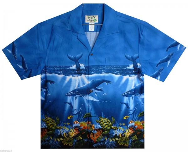 KY's | Original Hawaiihemd | Herren | S - 8XL | Wale Schildkröten Meer | Blau - LIMITIERT -