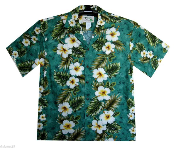 KY's | Original Hawaiihemd | Herren | S-8XL | Hibiskus Blüten Palmenblätter | Mehrere Farbvarianten