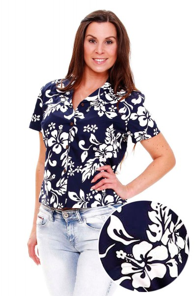 KY's | Original Hawaiibluse für Damen | Hibiskus Hemd for Men | Kurzärmelig | Front-Tasche | Blau