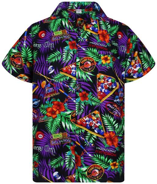 Funky Hawaiihemd | Herren | XS - 6XL | Pool Billiard | Schwarz Mehrfarbig