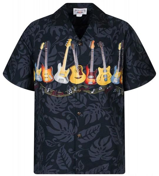 Pacific Legend | Original Hawaiihemd | Herren | S - 4XL | Gitarren Musik Blätter | Schwarz