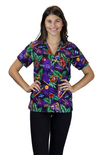 Funky Hawaiibluse | Hawaiihemd | Damen | XS - 6XL | Pool Billard | Schwarz Mehrfarbig