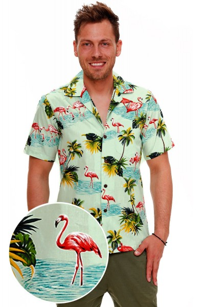 Pacific Legend | Original Hawaiihemd | Herren | S - 4XL | FlamingoPalmenMeer | Mehrere Farbvarianten