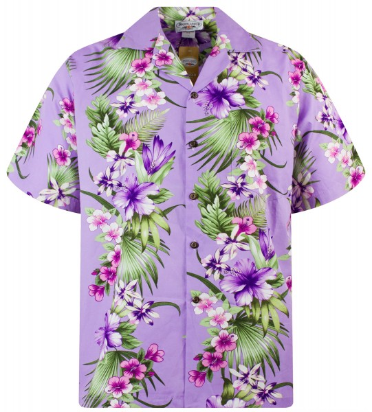 Pacific Legend | Original Hawaiihemd | Herren | S - 4XL | Blüten Palmen Blätter | Violett