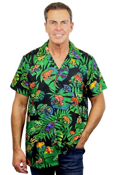 Funky Hawaiihemd | Herren | XS - 6XL | Frösche | Schwarz Mehrfarbig