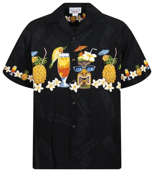 Pacific Legend | Original Hawaiihemd | Herren | S - 4XL | Cocktail Ananas Blumen | Schwarz