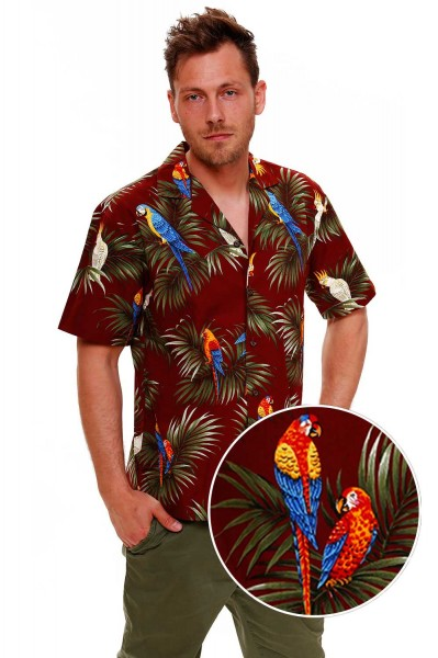 KY's | Original Hawaiihemd | Herren | S - 8XL | Papagei Palmen Kakadu | Mehrere Farbvarianten